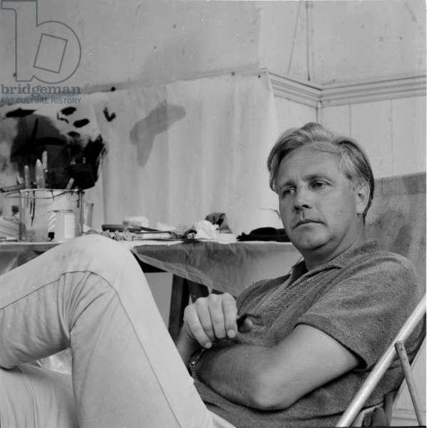 Peter Lanyon in his studio, Cornwall, 1963 (b/w photo)