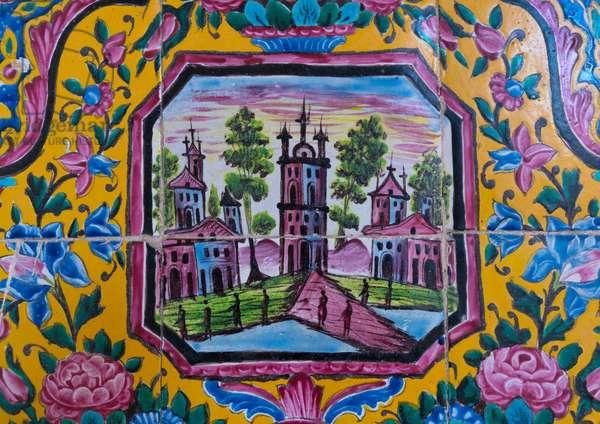 Decorated tile work at Nasir ol Molk mosque, Fars Province, Shiraz, Iran (photo)