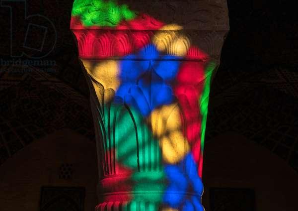 The Pillars Of Nasir Ol Molk Mosque With Its Beautiful Colors, Fars Province, Shiraz, Iran, 2016 (photo)