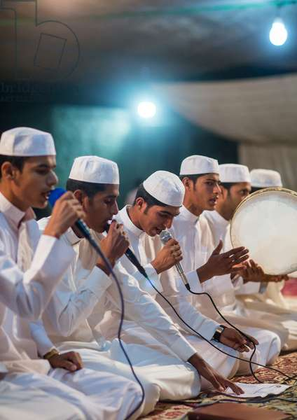 Men Singing And Playing Music During A Wedding Ceremony, Qeshm Island, Tabl , Iran, 2015 (photo)