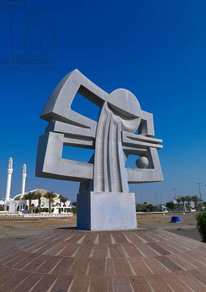 Modern Art on Jeddah Corniche, Saudi Arabia (photo)