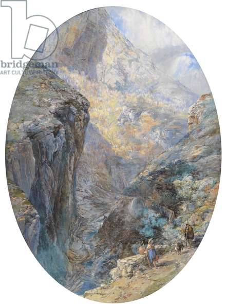 Near Amalfi, La Vallée des Moulins, 1864 (w/c heightened with bodycolour)