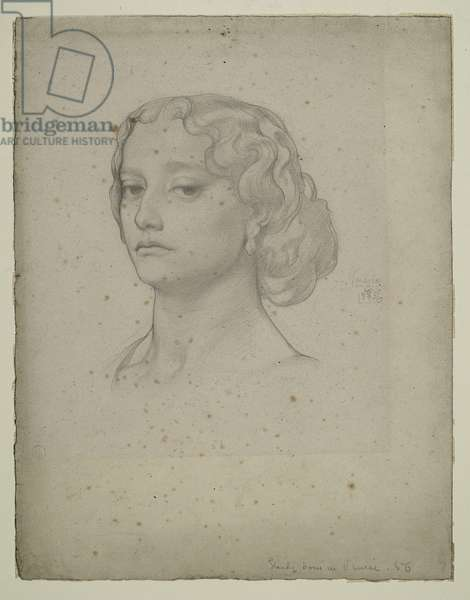Study of a Female Head, 1856 (pencil on paper)