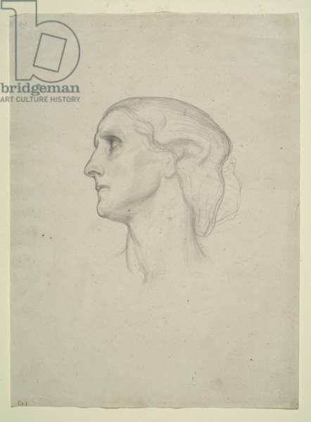 Study of a Female Head, 1852-55 (pencil on paper)