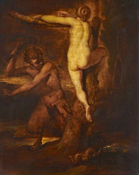 Satyr Slaying Snake, 19th century (oil on board)