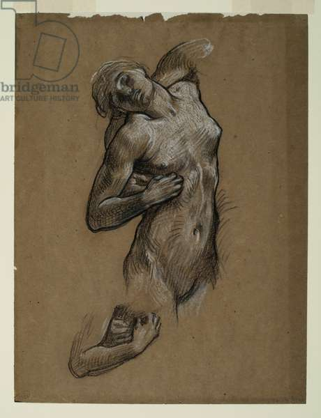 Study for 'And the sea gave up the dead which were in it', 1882-84 (black & white chalk on brown paper)