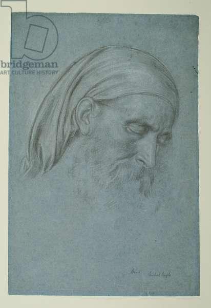Study for 'Michael Angelo Nursing his Dying Servant', c.1861 (black & white chalk on blue paper)