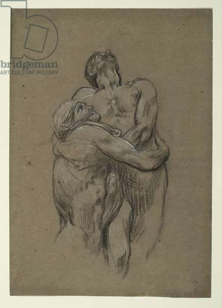Study for 'And the sea gave up the dead which were in it', 1877-82 (black & white chalk on brown paper)