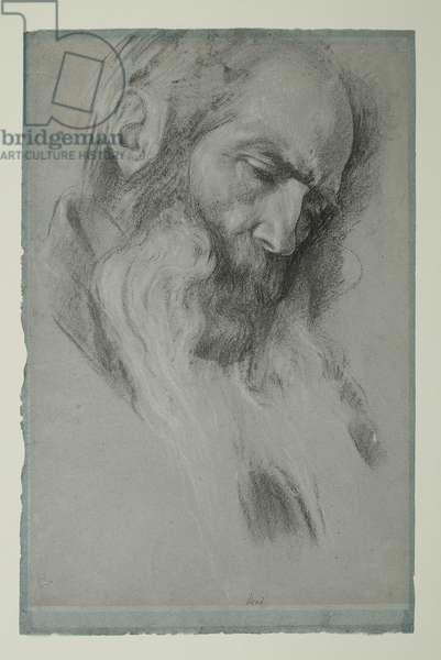Study for 'Michael Angelo Nursing his Dying Servant', c.1861 (black & white chalk on paper)
