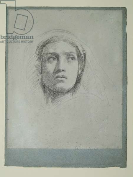 Study for 'Jezebel and Ahab', c.1862 (black chalk on blue paper)