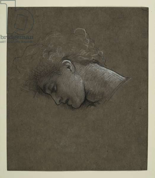 Study for 'Lachrymae', c.1894 (black & white chalk on brown paper)