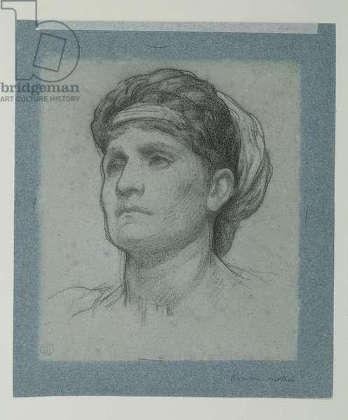 Study for 'Clytemnestra', c.1873 (black & white chalk on blue paper)