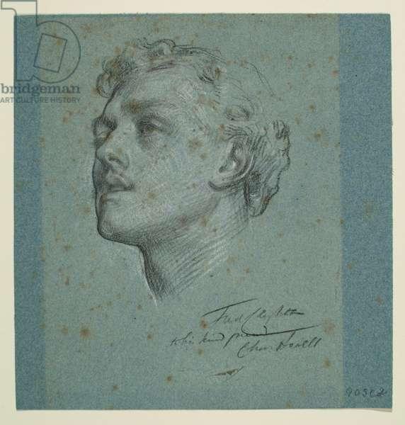 Portrait of Charles Augustus Howell, c.1866 (black & white chalk on blue paper)