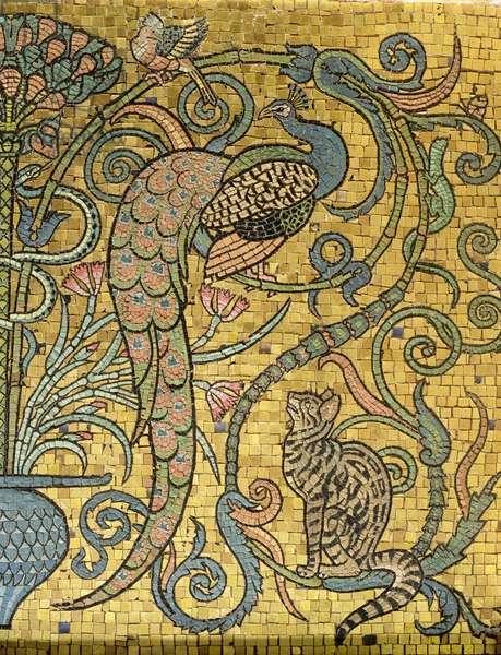 Detail of the gold mosaic frieze, c.1881 (mosaic)