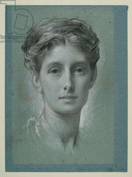 Study of a Female Head, c.1870 (black & white chalk on blue paper)