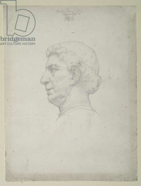Study after a Bust by Antonio Rossellino, 1854 (pencil on paper)