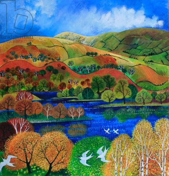 Terns over Rydal Water, 2009 (acrylic ink and gouche on paper)
