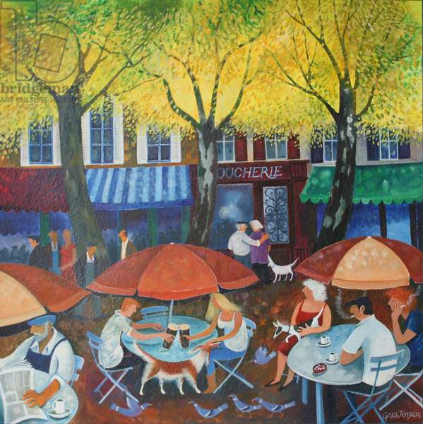 Cafe culture, 2015, (acrylic inks on paper)