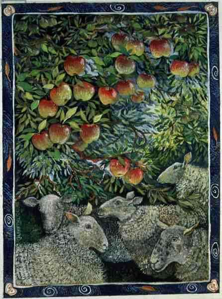 Sheep and Orchard, 1996 (acrylic ink, gouache)