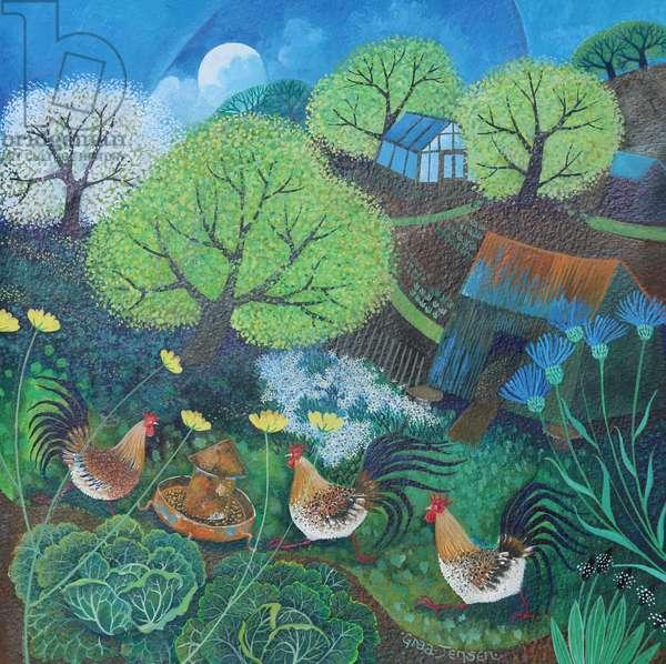 Happy hens, 2016, (acrylic inks on paper)