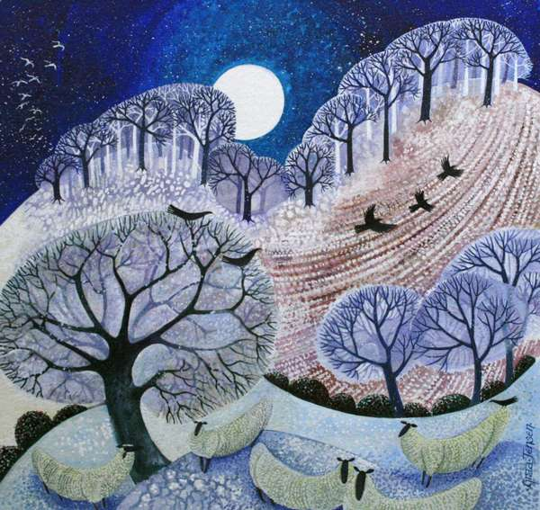 First Snow Surrey Hills (acrylic ink)_