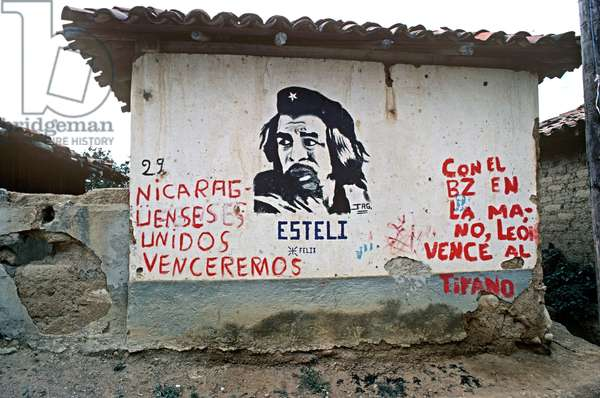 Mural of Che Guevara in Santa Maria, a small village on the border with Honduras, Nicaragua, Central America (photo)