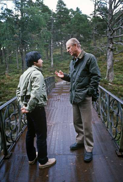 Crown Prince Naruhito of Japan and the Duke of Edinburgh at Balmoral Castle, Scotland, 1984 (photo)