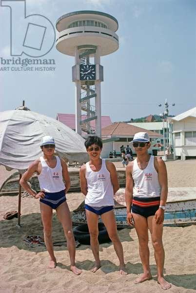 Qingdao lifeguards, Qingdao beach resort, Shandong province, China, 1985 (photo)