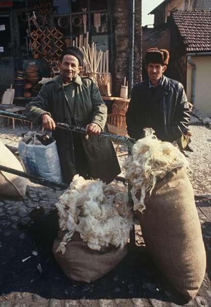 Wool merchants in historical market area of Sarajevo, former Yugoslavia