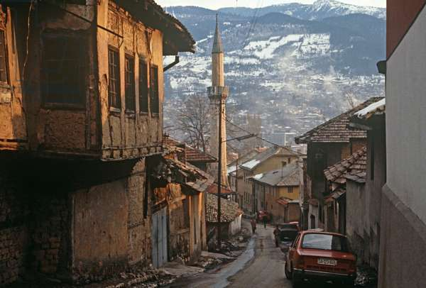 Looking down into Sarajevo from surrounding hills, former Yugoslavia