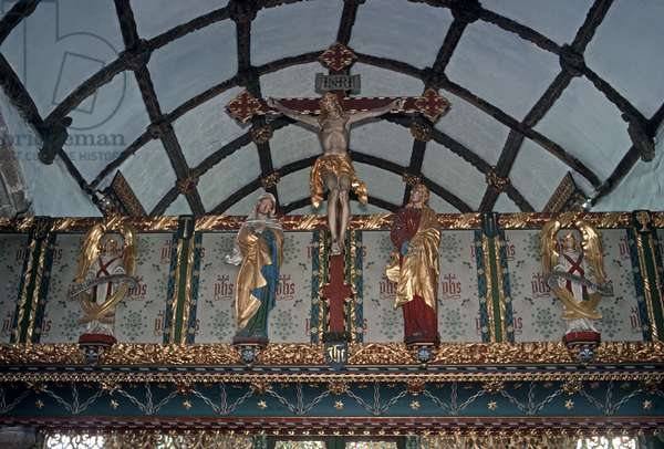 St Protus and St Hyacinth's medieval church Rood Screen architecture, Blisland, North Cornwall, England, UK (photo)