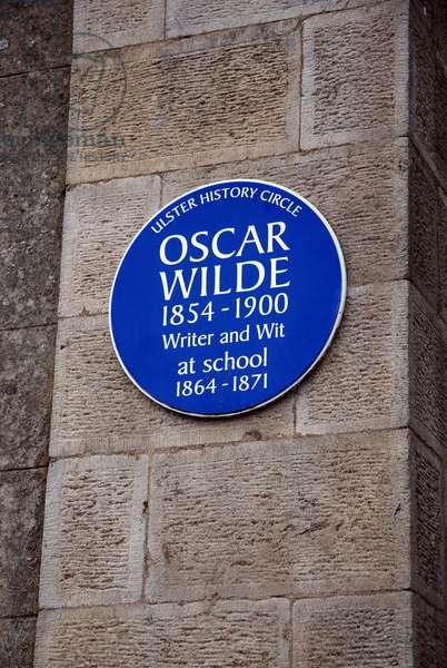 Portora Royal School Blue Plaque to Oscar Wilde, Enniskillen, County Fermanagh, Northern Ireland, Lough Erne (photo)