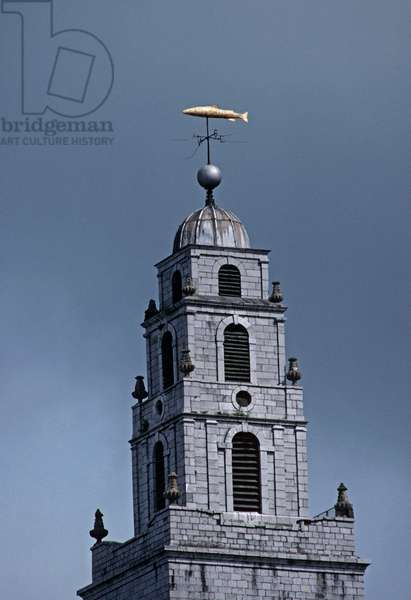 Salmon weather vane, St Anns Church, Cork city, referred to in James Joyce 'A Portrait of the Artist as a Young man', Ireland (photo)