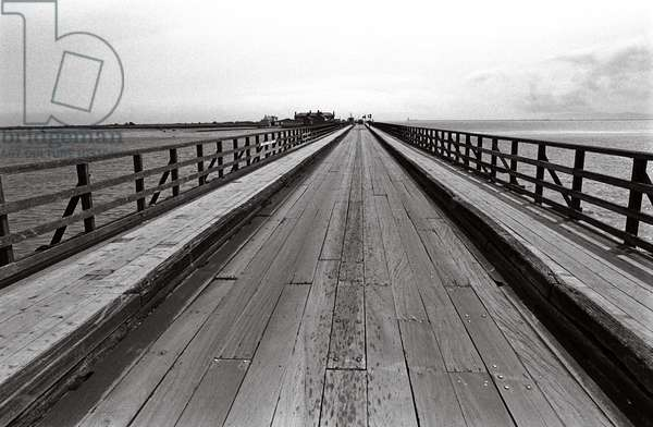 Wooden bridge from Dollymount to Bull Island in Dublin Bay, County Dublin, referred to in James Joyce 'A Portrait of the Artist as a Young Man', Ireland (photo)