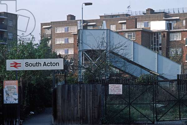 Passengers bridge at Acton South railway station on the North London Line, London, 1980s, 1982 (photograph)