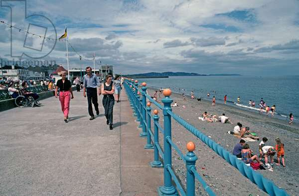 Bray promenade, families at the seaside,  County Wicklow, referred to in James Joyce 'A Portrait of the Artist as a Young Man', Ireland (photo)