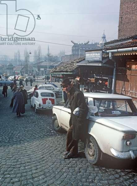 Historical market area in Sarajevo, former Yugoslavia