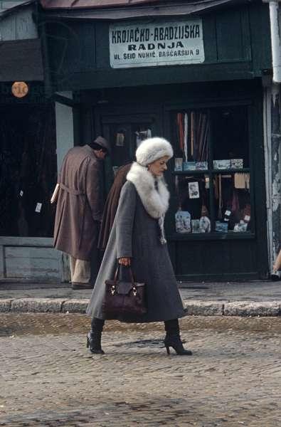Fashion styled 1980s lady in Sarajevo, former Yugoslavia