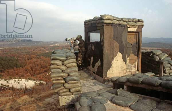 Observation posts along the heavily fortified Korean Demilitarized Zone, DMZ Line, between North Korea and South Korea under United Nations controll (photo)