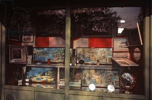 Shop selling pictures in historical market area of Sarajevo, former Yugoslavia