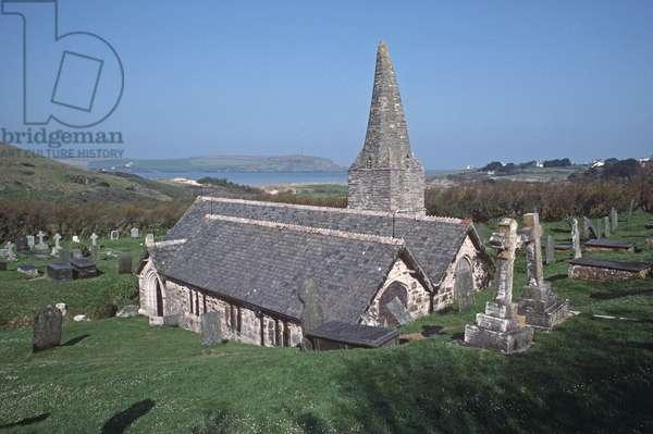 St Enedoc's church where Poet Laureate John Betjeman is buried, Trebetherick, Cornwall, UK (photo)