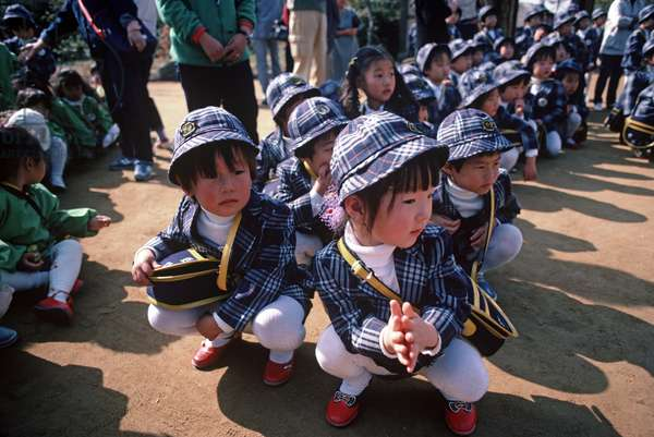 School children in identical school uniforms visiting the Bulguksa Temple complex, Head of the Jogye order of Korean Buddhism, South Korea, Asia (photo)