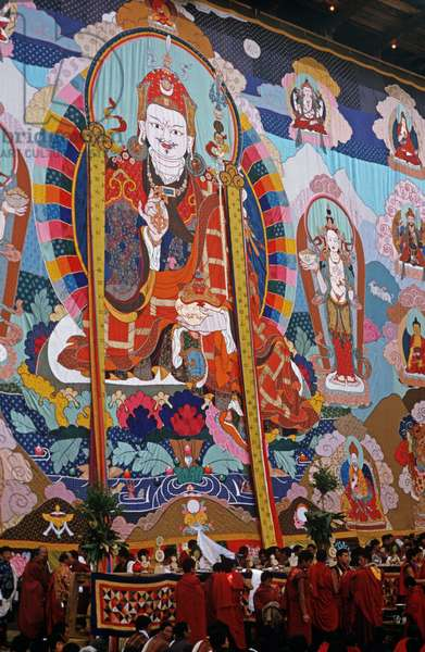 The Thangka, a large tapestry, at the Paro Festival during the religious ceremony, Bhutan (photo)