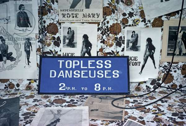 Canadian French strip club shop front, Montreal, Quebec Province, Canada (photo)