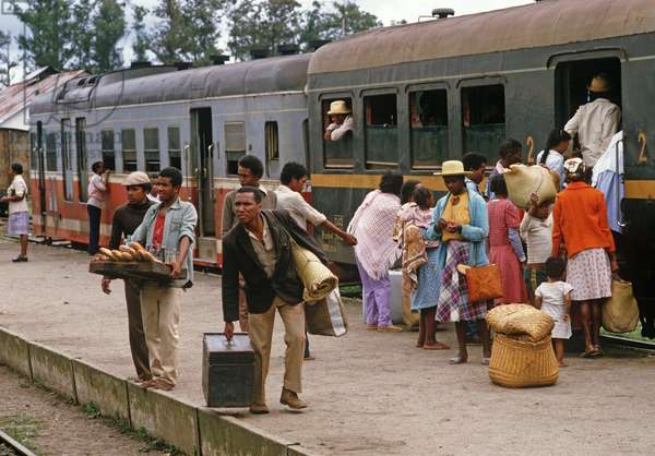 Railway travellers at Perinet railway station, Madagascar, East Africa, Africa, 1980s (photo)