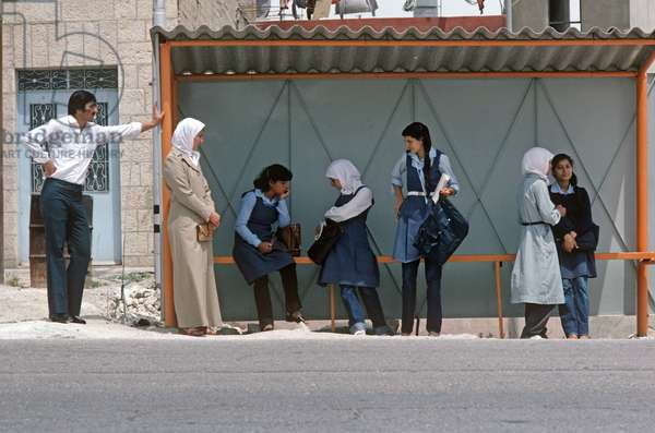 Palestinians waiting at bus stop in West bank, East Jerusalem, Israeli-Authority,  (photo)