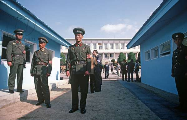 North Koreans soldiers during South and North Korean talks at Panmunjom, Korean Demilitarized Zone, DMZ Line (photo)