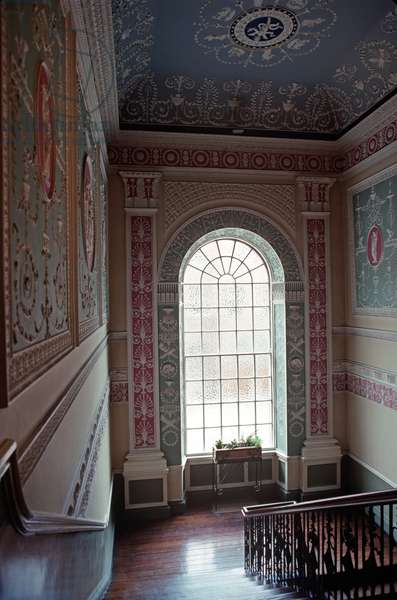 Stucco staircase by Michael Stapelton at Belvedere College, a private Jesuit Secondary School for Boys which James Joyce attended from 1893-1898 , Dublin, Ireland (photo)