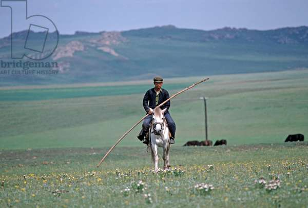 Horse breeders at work, Inner Mongolia grasslands, China, 1985 (photo)