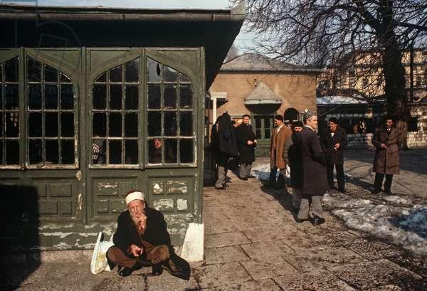 Muslim men and Mullah in Sarajevo Mosque, former Yugoslavia